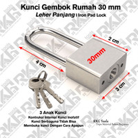 Kunci Gembok Stainless Panjang 30 mm / Iron Pad Lock / Leher Panjang