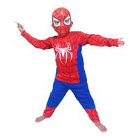 baju stelan anak superhero spiderman gratis topeng plastik/kostum anak