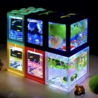 Akuarium lego cupang akrilik mini 4 sisi lampu led usb aquarium ikan A