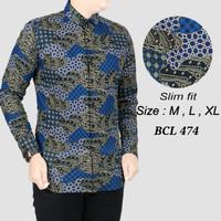 Batik , kemeja slimfit pria,baju batik cowo lengan panjang D 721