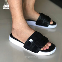 ART 07 BLACK WHITE   Sandal Slide Simple Pria Flip Flop Ringan Slip