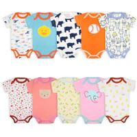 baju romper bayi import laki perempuan 0 - 3 bulan motif random 5 in 1