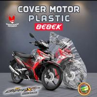 sarung cover body motor Supra X 125 bahan plastic transparan