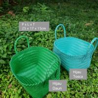 Keranjang Anyam Plastik / Tas Anyaman / Kotak Bingkisan Hampers E11