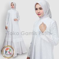 Baju Gamis Putih Rempel Bawah Katun Jepang Bordir / Gamis Putih