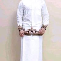 setelan sarung baju Koko dewasa trendy tumpal putih
