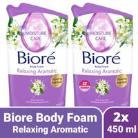 Twin Pack 2x Biore Relaxing Aromatic Refill 450 ml - Body Foam Ungu