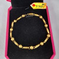 GL599DLM gelang emas asli model pipa bola fashion elegan wanita gold