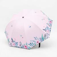 Payung lipat 3 bunga full print / bagus cantik / anti UV / GRC - 8655 - Pink