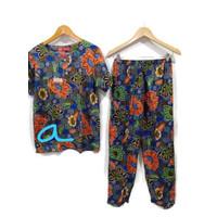 setelan celana panjang batik kencana ungu / baju tidur batik