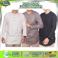 Baju Kemeja Koko Muslim Kurta Pakistan Pria Dewasa Husen - Putih, M