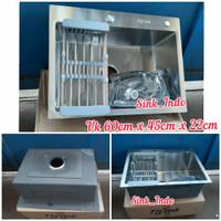 LARIS Bak Cuci Piring 1 Lubang Stainless Atau westafel Kitchen Sink 60