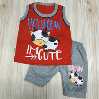 baju bayi laki laki 0-12 bulan, Allsize singlet motif sapi