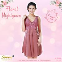 Sorex Lingerie Baju Tidur Premium Satin Look Floral Brukat 7005