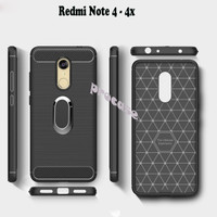 Xiaomi Redmi Note 4 4x Casing Cover Ring Carbon Rugged Fiber Backcase