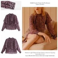 HQ31268 Purple Flower Ruffle Blouse Import Baju Wanita Sifon Korea Pop