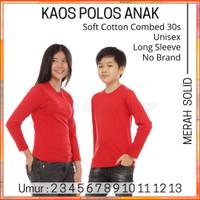 Kaos Polos Anak Lengan Panjang Cotton Combed 30s 2-13 Thn Merah Solid