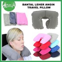 Bantal Leher Angin Travel Nap Pillow Travel Flocking inflatable