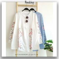 Baju Atasan Katun Bordir Wanita / Fashion Kemeja Tunik Polos Wanita