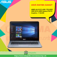 ASUS X441BA-GA442T AMD A4-9125 4GB DDR4 1TB HDD ODD 14 W10 !! SILVER