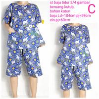 HOKI & SHEILA setelan baju tidur piyama katun 3/4 standar fit to xl