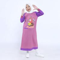 gamis anak / baju muslim anak perempuan / gamis anak karakter / ungu - 3-4 tahun