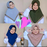 Hijab jilbab kerudung anak Paud TK model serut renda murah - Tosca