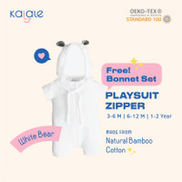 Playsuit Bonnet Set (Romper / Jumper Anak dan Bayi) - Kalale - White