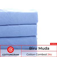 Kain kaos bahan kaos katun cotton combed 24s & 30s wrn Sedang 1/2 Kg - Biru Muda, 24s