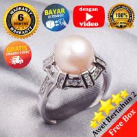 Pearl Ring Korea, Silver Emas Putih ASLI, PRING 015 (Garansi 6 bulan)