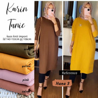 Baju tunik panjang bahan kaos knit, atasan tunik wanita - Karin