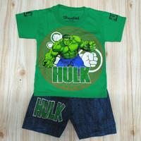 baju setelan anak laki laki 2-10 tahun, motif hulk