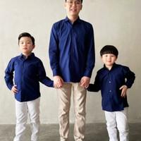 Kemeja Anak Laki Laki/ Kemeja Cauple Ayah Dan Anak Karl & Earl - Navy