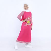 gamis anak / baju muslim anak perempuan / gamis anak karakter / pink - 3-4 tahun