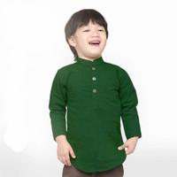 KEMEJA KOKO ANAK Lengan Panjang HIJAU BOTOL 1-10 Tahun Baju Koko Kurta