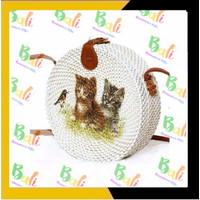 authentic Balinese handicraft souvenirs Tas bulat Bali motif cat