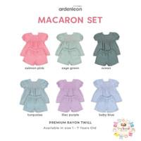 ARDENLEON Macaron Peplum Set - Baju anak perempuan - SAGE GREEN, M (1-2Y)