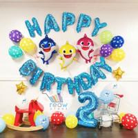 Paket Dekorasi Hiasan Balon Ulang Tahun / Happy Birthday Baby Shark 01