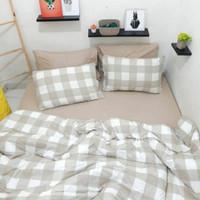 Set Bedcover Sprei Kotak Khaki Ukuran 180x200 160x200
