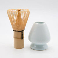 Chasen bamboo whisk stirrer 100F + Stand dudukan keramik set