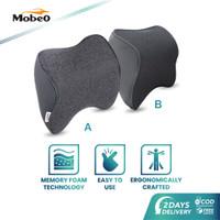 Mobeo Bantal Mobil Sandaran Leher Memory Foam + Katun Linen