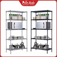 Rak Dapur Serbaguna Adjustable Rak Dapur Tingkat Rak Susun Multifungsi - Hitam