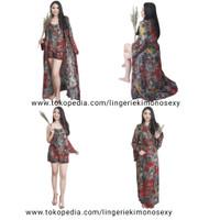 kimono sett Gisel baju tidur wanita katun merah all size tanktop cewek