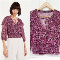 Baju Blouse Bershka Floral Print Purple Original Asli Baru