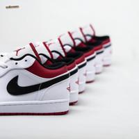 Sepatu NIKE AIR JORDAN 1 Low White Red - 7.5