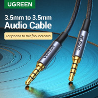 Ugreen Kabel Aux Jack 3.5mm MALE TO MALE 4 POLE TRRS Auxiliary Cable - 2 meter