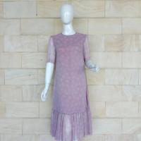 dress bahan crap ungu premium