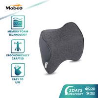 Mobeo Bantal Mobil Sandaran Leher Memory Foam + Katun Linen - Hitam A