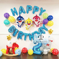 Paket Dekorasi Hiasan Balon Ulang Tahun / Happy Birthday Baby Shark