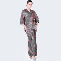 Nayara Batik Outer set hijau Indira / Kaftan Set / Dress Pesta